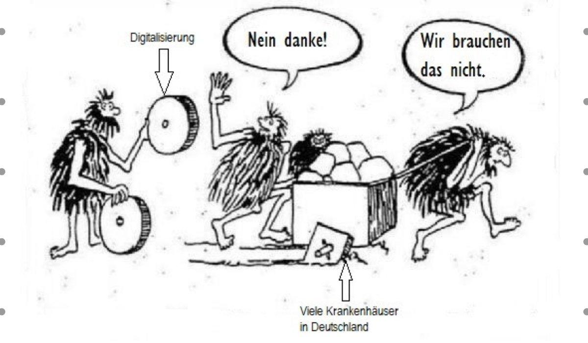 Karikatur Digitaliserung in deutschen Krankenhäuser